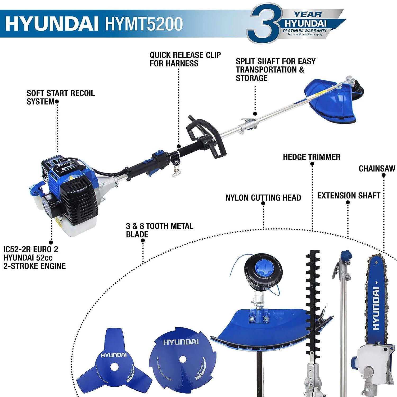 -3/ans de garantie Hyundai Hymt5200//à essence 52/cc Jardin Multi Fonction Outil taille-haie, tron/çonneuse, d/ébroussailleuse, coupe-bordures et tige dextension
