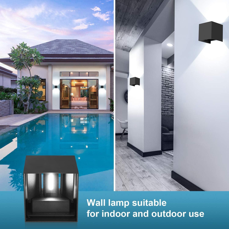 12W LED Wandleuchte Innen//Au/ßen 4 St/ücke Wandlampen Auf und ab Einstellbarer Lichtstrahl Wandlampe LED 6000K Wei/ß IP65 Wasserdichte Schwarz