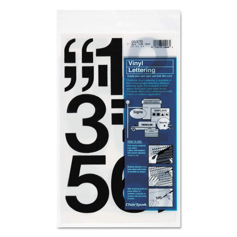 Chartpak Press-On Vinyl Numbers, Self Adhesive, Black, 3h, 10/Pack - 01170 Pack of 5