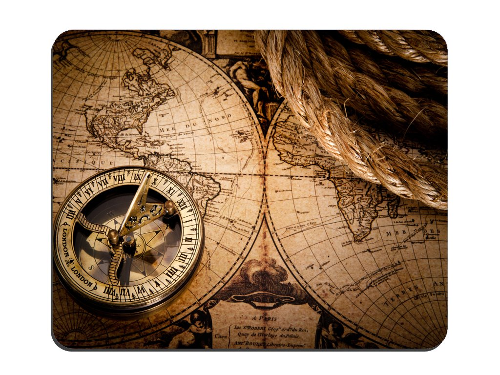 World Map Old Compass Background Non-Slip Rubber Mousepad Gaming Mouse Pad Mat HLZ