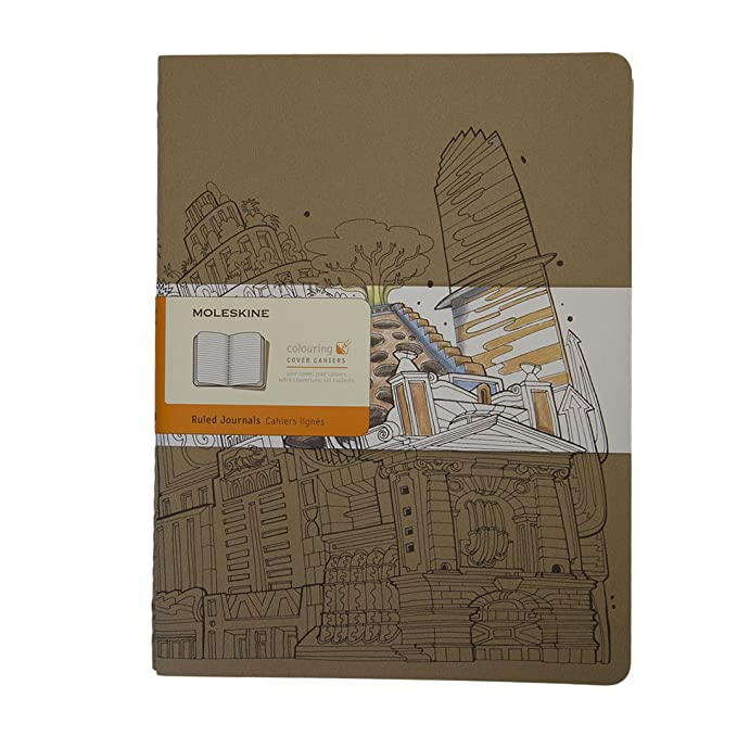 Moleskine Coloring Cover Cahier, Extra Large, Ruled, Kraft Brown, Soft Cover (8055002851640) by Moleskine