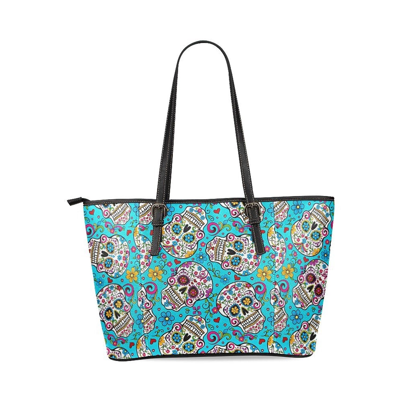Sugar Skull Custom Women's PU Leather Large Tote Bag/Handbag/Shoulder Bag