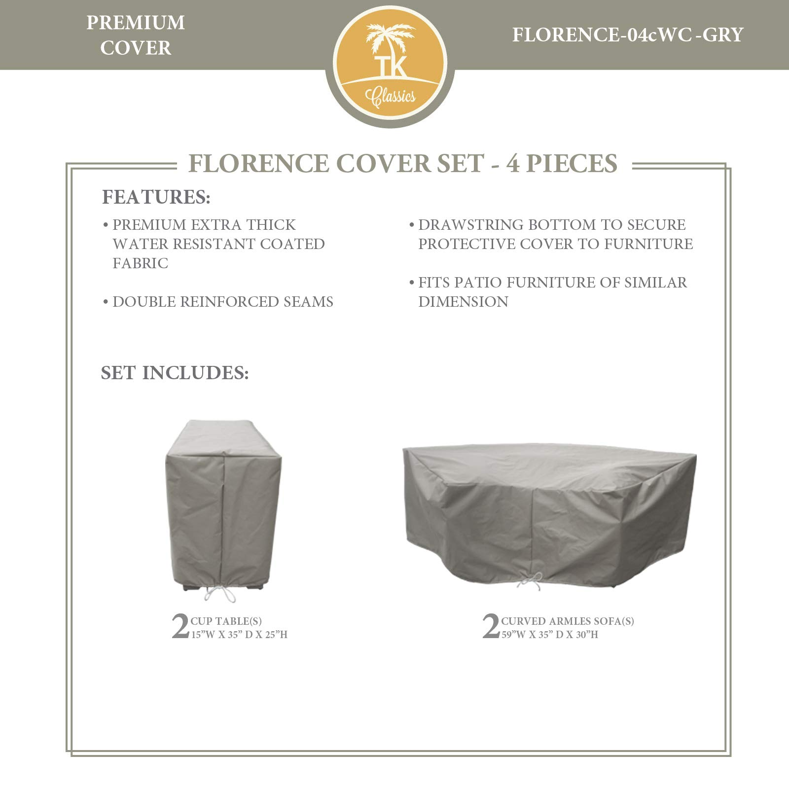 TK Classics FLORENCE-04c Protective Cover Set in Gray