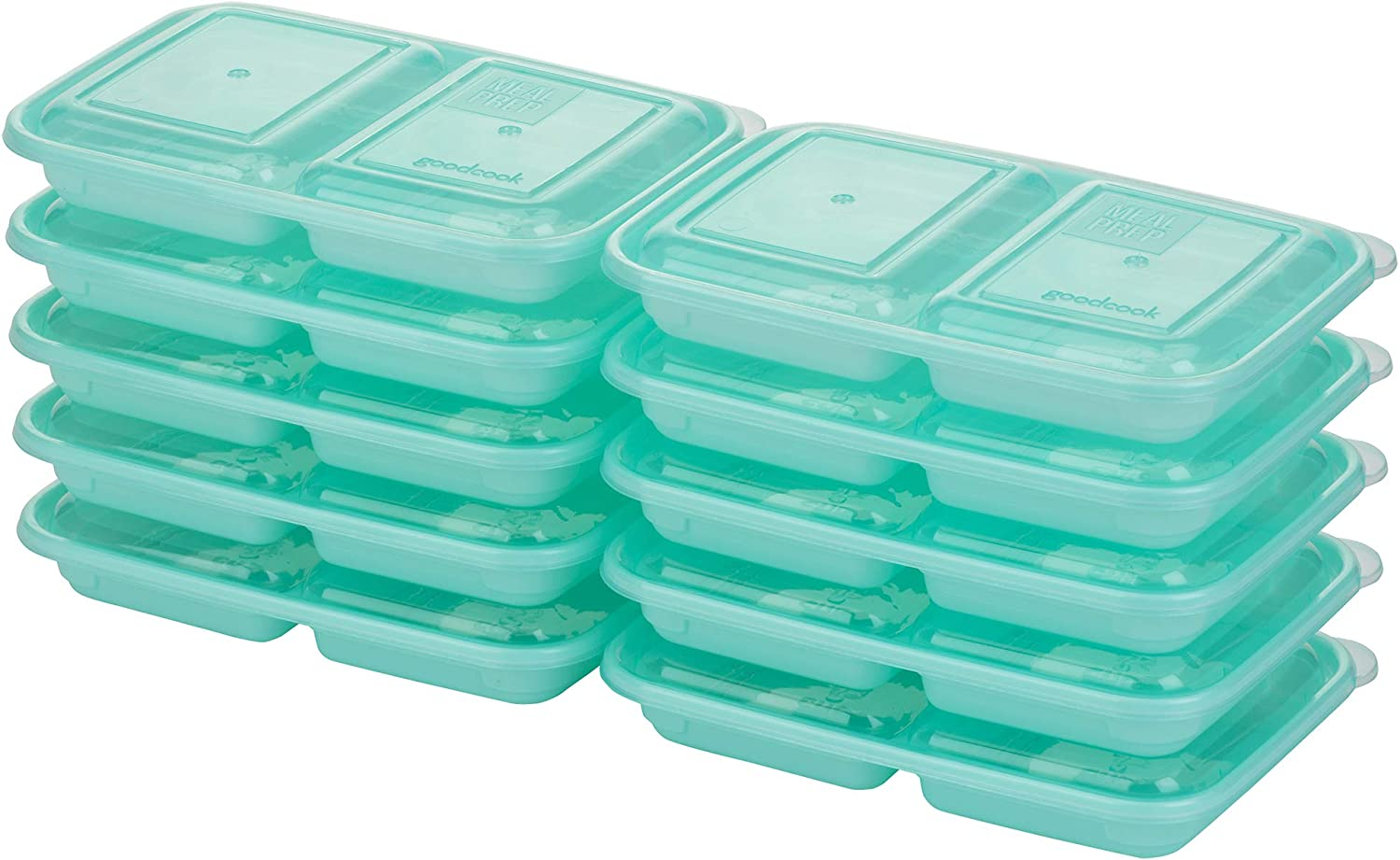 Good Cook 10786 Meal Prep, 2 Snack Compartments BPA Free, Microwavable/Dishwasher/Freezer Safe, Blue
