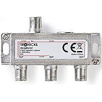 TronicXL 3-voudige F-stekker antenneverdeler DC-doorgang TV kabeltelevisie BK DVB-T2 bijv. voor Unitymedia Splitter HD