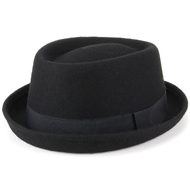 Hawkins 100% Wool Felt Pork Pie Hat Fedora Trilby - Black  Amazon.co ... f18f16cff04