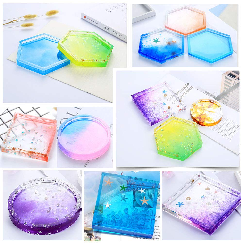 Jatidne Epoxy Resin Moulds Coaster Condensation Edge Resin Casting Kit Silicone Moulds for Resin DIY Art Supplies