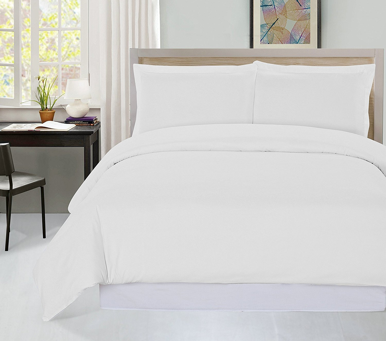 Utopia Bedding 3 Piece Queen Duvet Cover Set with 2 Pillow Shams, White