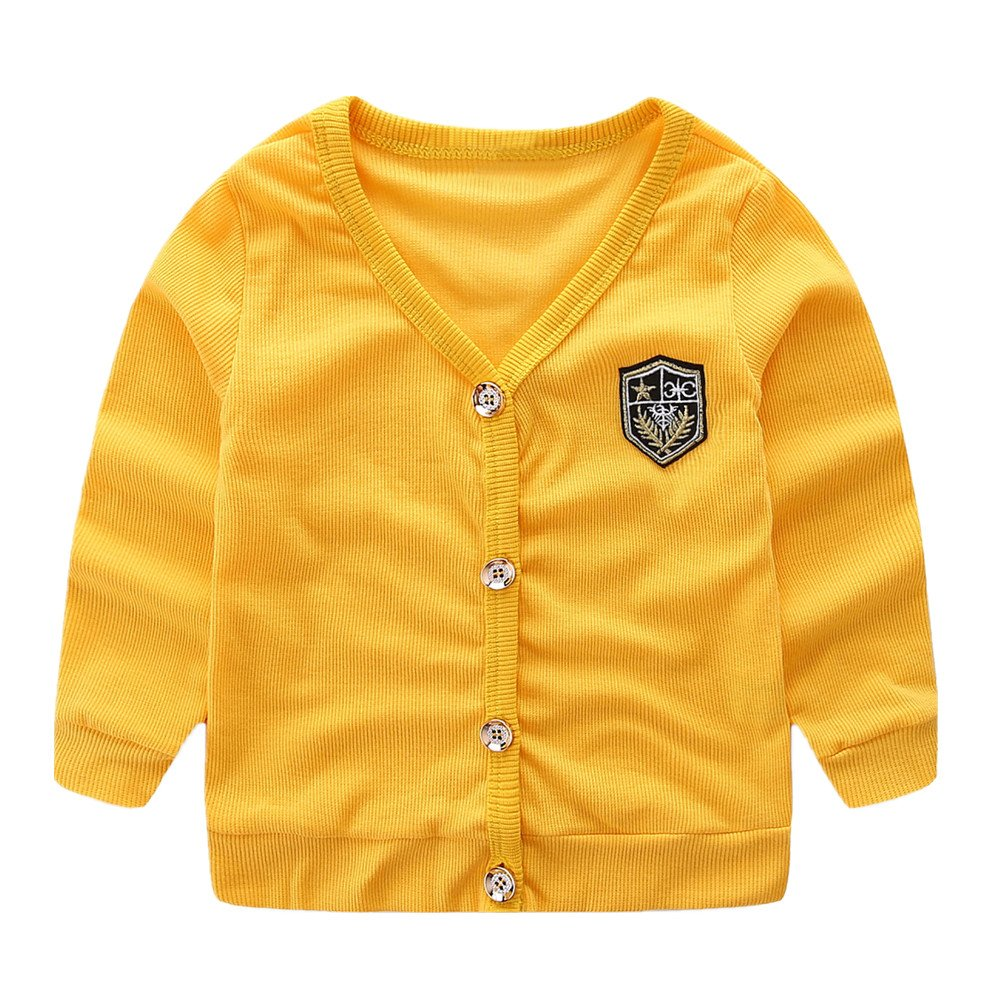 LittleSpring Little Boys' V-Neck Cardigan Button Thin Yellow 5 SLS-S0107-Yellow-130