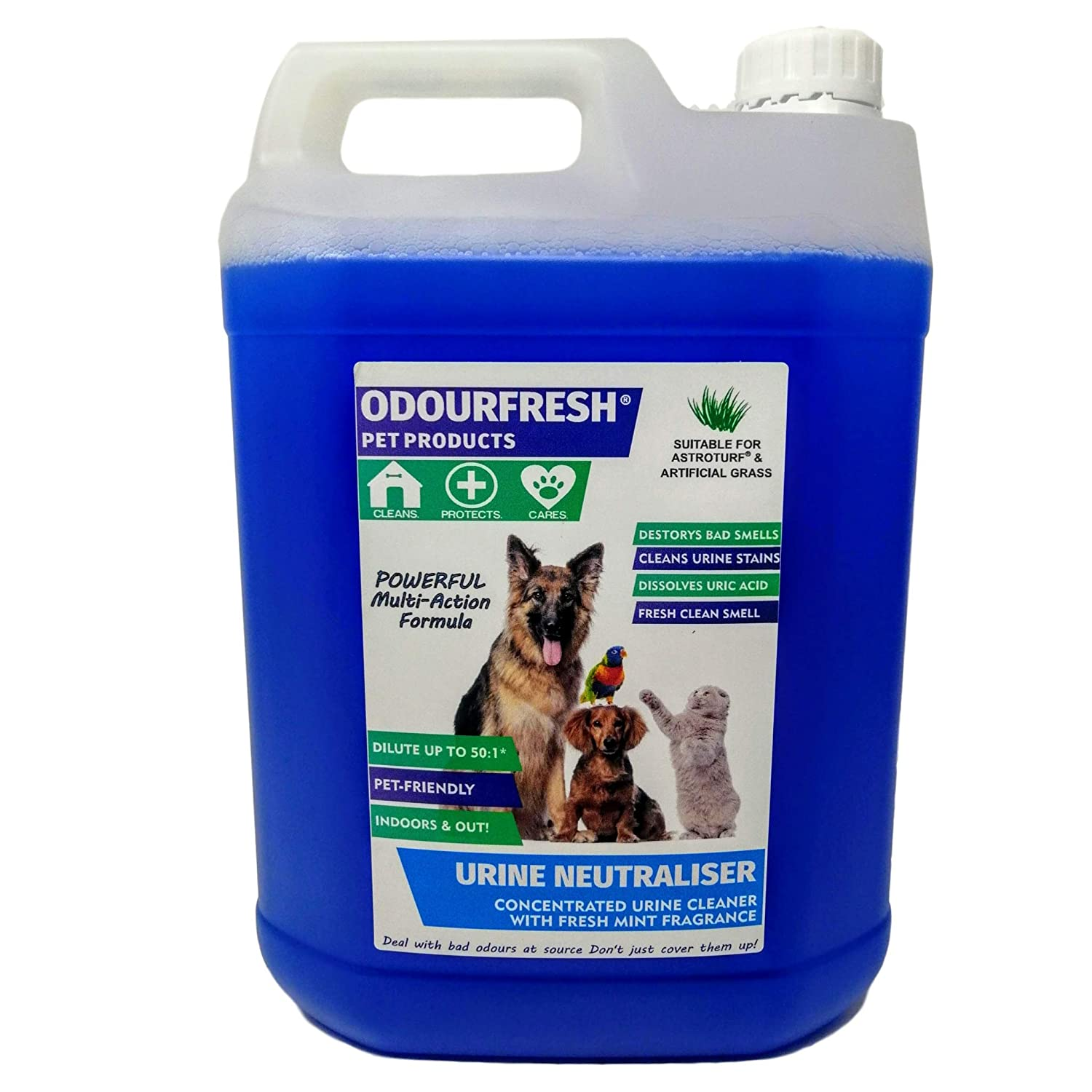 5L Odourfresh Urine Neutraliser Concentrate  Cleans Urine and Faeces  Destroys Bad Smells Caused by Cats and Dogs  For Carpets, Patios, Floors and Furniture (Spearmint, 4x5L)