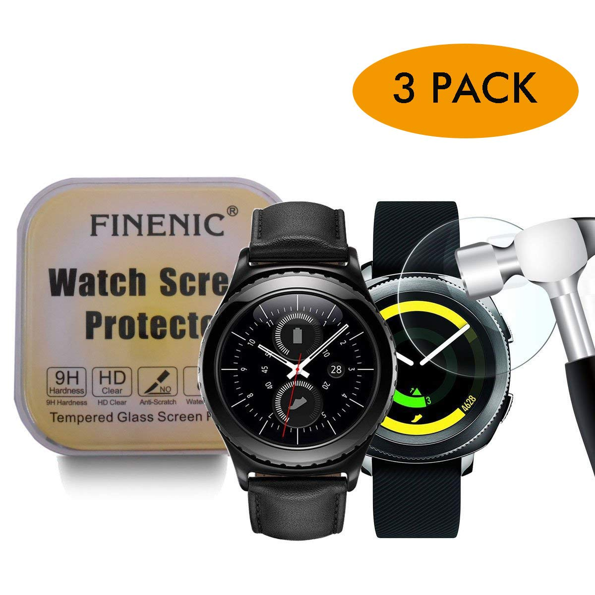 FINENIC 【3 Pack】 Screen Protector Compatible for Samsung Gear S2 smartwatch,Tempered Glass Screen Protector,HD Clear,Bubble Free,Anti-Scratch for Gear ...