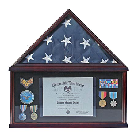 Elegant Memorial Funeral Flag Display Case Storage Military Shadow Box, for Memorial Flag, FC07 with NO Mat and Medallion