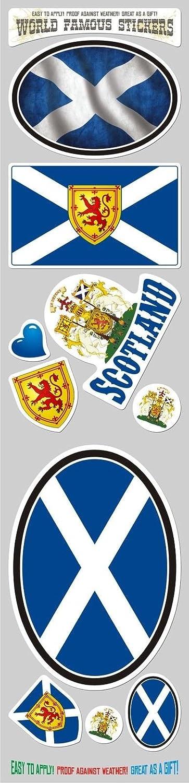 Car Chrome Decals STS-SCOT Scotland 10 Stickers Set Flag Scottish Decal Bumper stiker car auto Bike Laptop