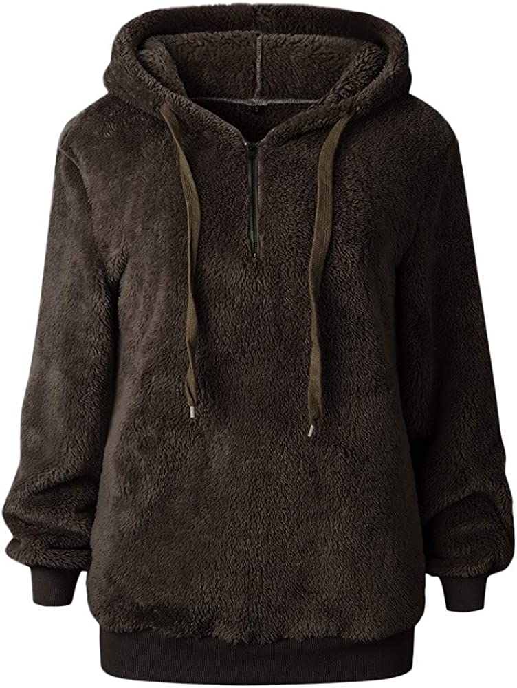OCEAN-STORE Women Hooded Sweatshirt Coat Winter Warm Wool Zipper Blouse Top