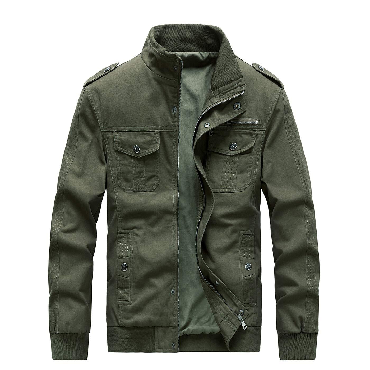 ZooYung Men's Casual Winter Cotton Military Jackets Outdoor Coat Windproof Windbreaker(GM-ZY812-Green-S) by ZooYung