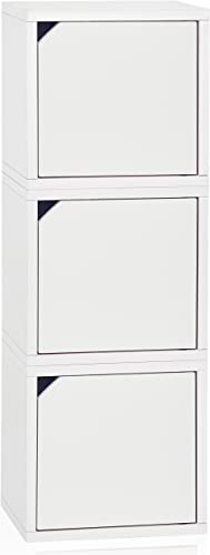 Way Basics Eco Stackable Connect 3-Cube Storage with Doors, White Tool-Free Assembly and Uniquely Crafted from Sustainable Non Toxic zBoard paperboard