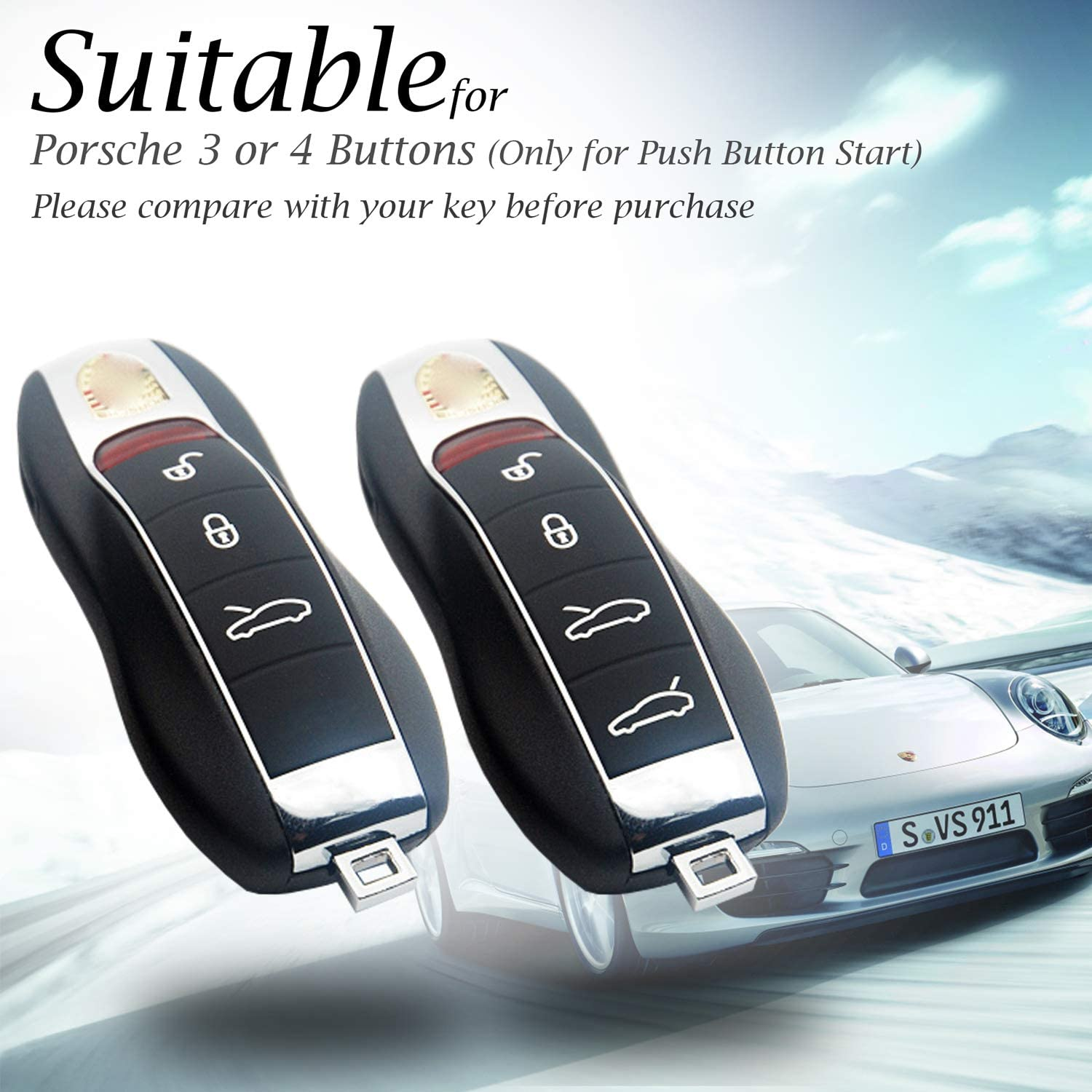 4-Button, Black Vitodeco Genuine Leather Smart Key Fob Remote Case with Leather Key Chain for Porsche 718 Porsche 911 Porsche Panamera Porsche Cayenne