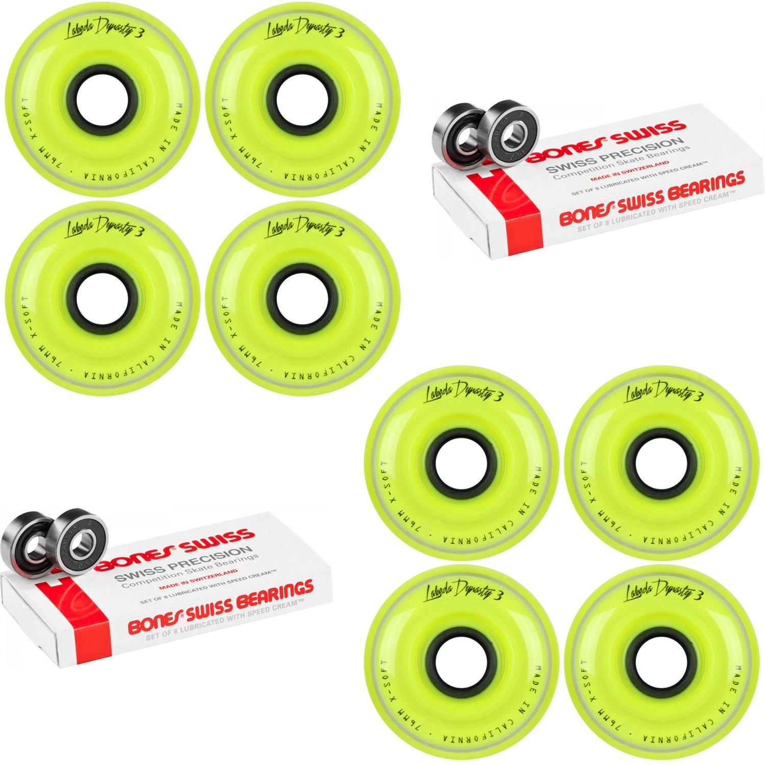Labeda WHEELS Roller Hockey DYNASTY 3 76mm X-SOFT Yellow 8-Pack Bones Swiss by Labeda