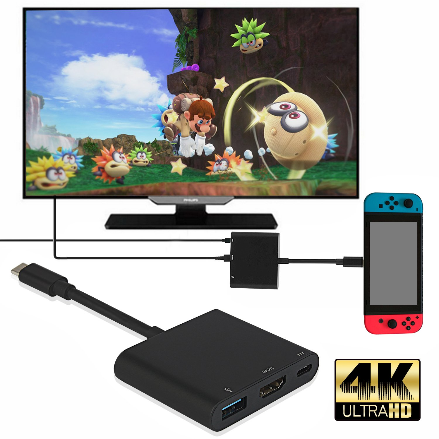 HDMI USB C Hub Adapter for Nintendo Switch, 1080P 4K Type C to HDMI Converter Dock Cable for Nintendo Switch