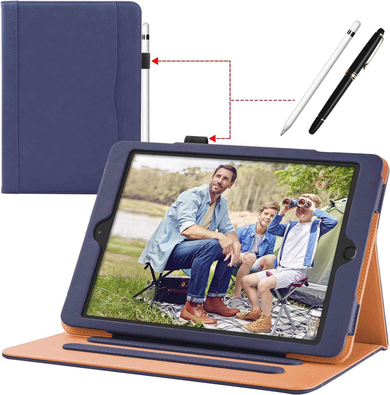 Funda para iPad (9,7 Pulgadas, 2018/2017 Modelo, 6ª / 5ª generación), con Soporte para lápiz, Carcasa con Auto-Sueño/Estela, Compatibles Apple iPad Air 2 / iPad Air Modelo, Azul