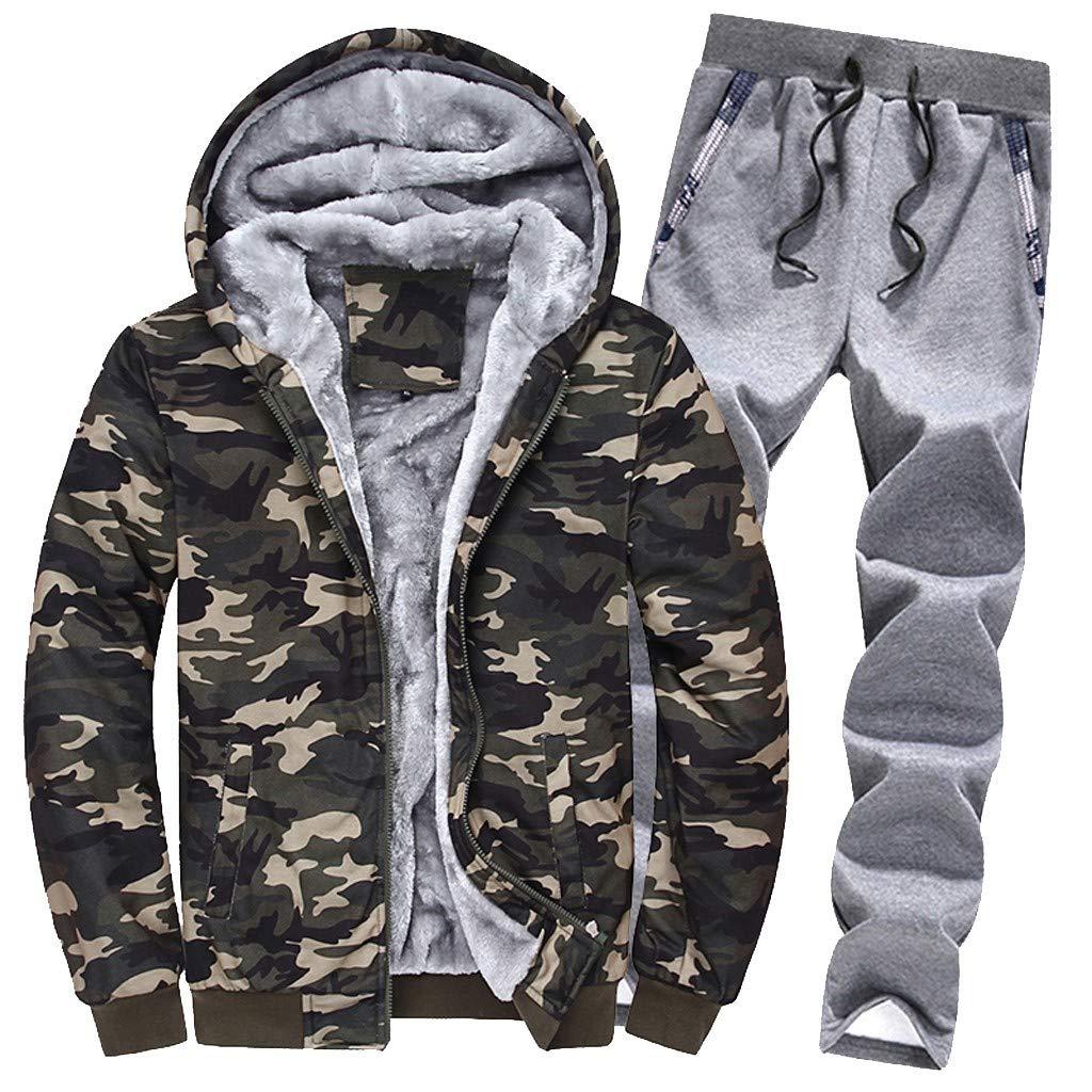 M, Army Green Gallity Mens Winter 2 Pcs Tracksuit Set Warm Camouflag Hoodie Fleece Zipper Coat Top Pants Outwear Sets