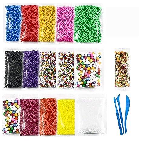 wskderliner Slime de color bolas de poliestireno de espuma de poliestireno Micro espuma perlas Set para ...