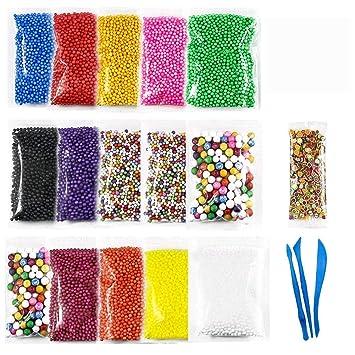 wskderliner Slime de color bolas de poliestireno de espuma de poliestireno Micro espuma perlas Set para
