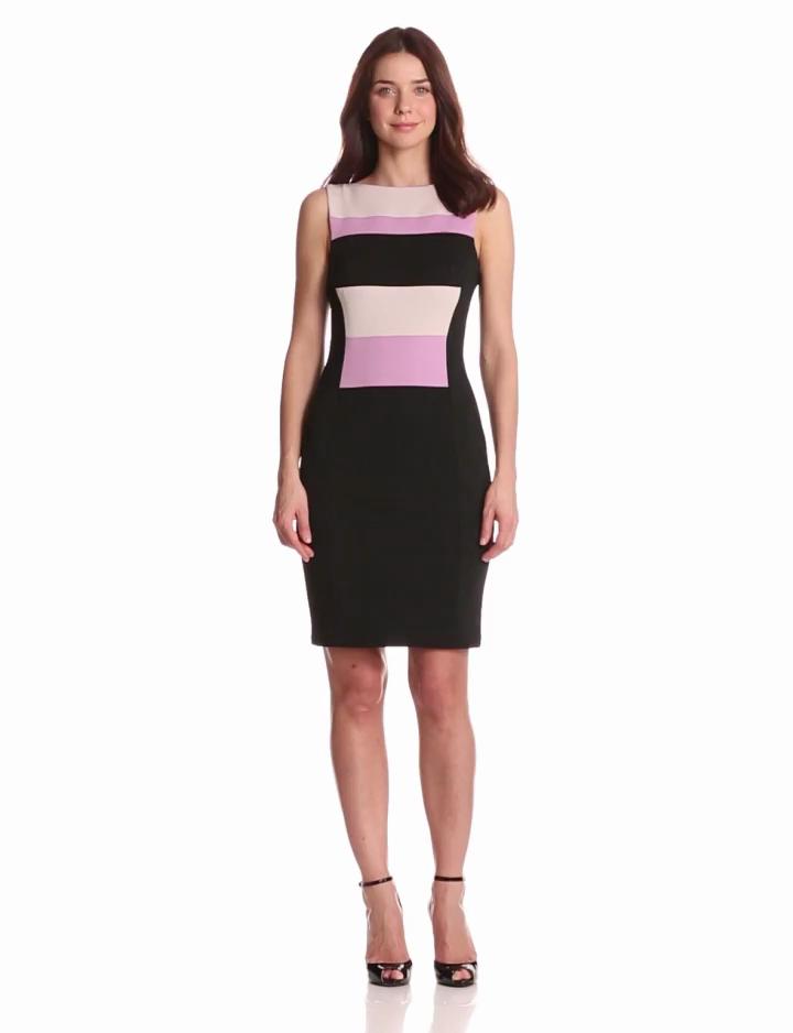 Maggy London Womens Colorblock Sleeveless Scuba Dress,  Freesia Combo, 6