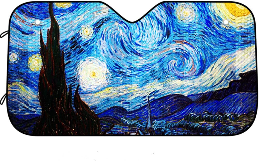 DPIST Van Gogh Starry Sky Car Windshield Sun Shade Universal Fit Car Sunshade-Keep Your Vehicle Cool. UV Sun and Heat Reflector