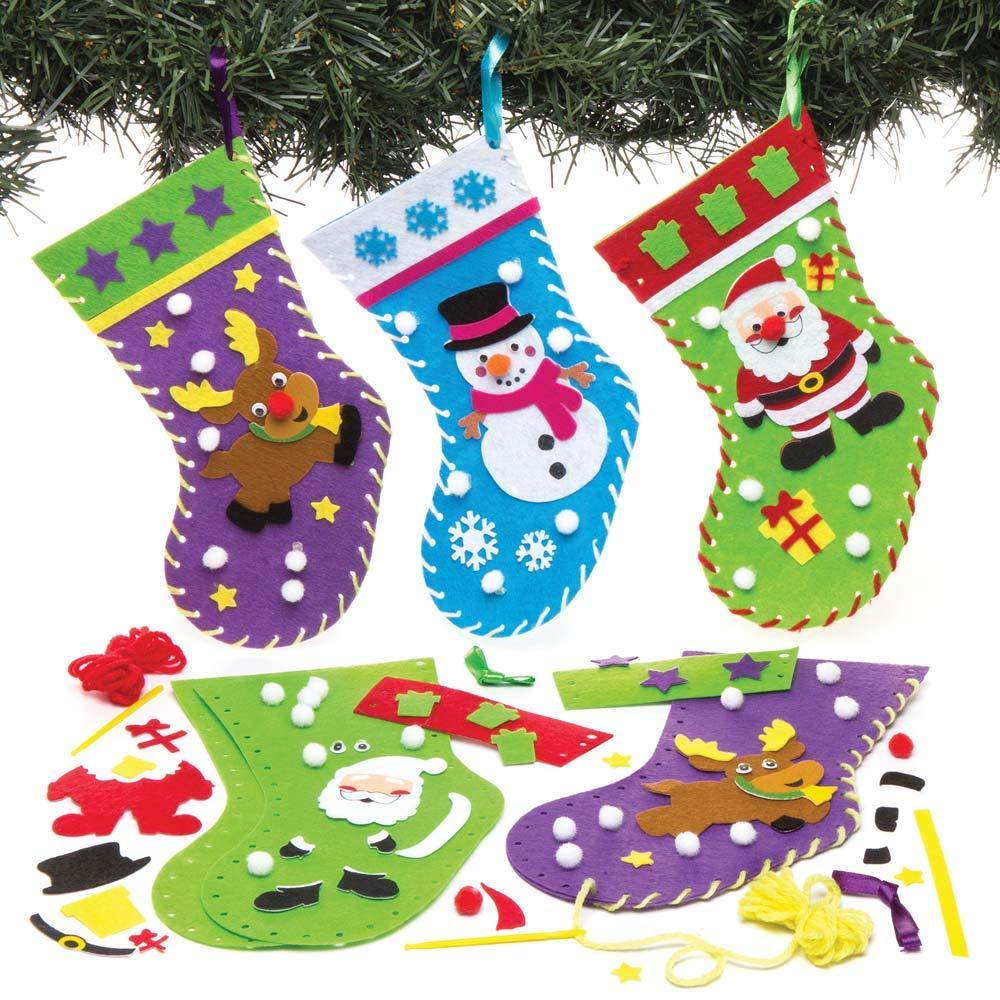 Amazon Com Baker Ross Christmas Stocking Sewing Kits Pack