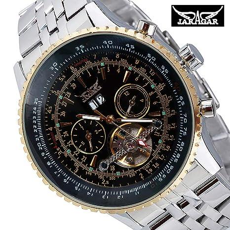 Jaragar - Reloj de Pulsera mecánico automático de Acero Inoxidable para Hombres y Mujeres: Amazon.es: Relojes