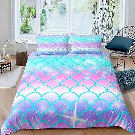 girl crib bedding mermaid theme nursery SHIPS TOMORROW mermaid crib bedding aqua bedding fish scales purple bedding