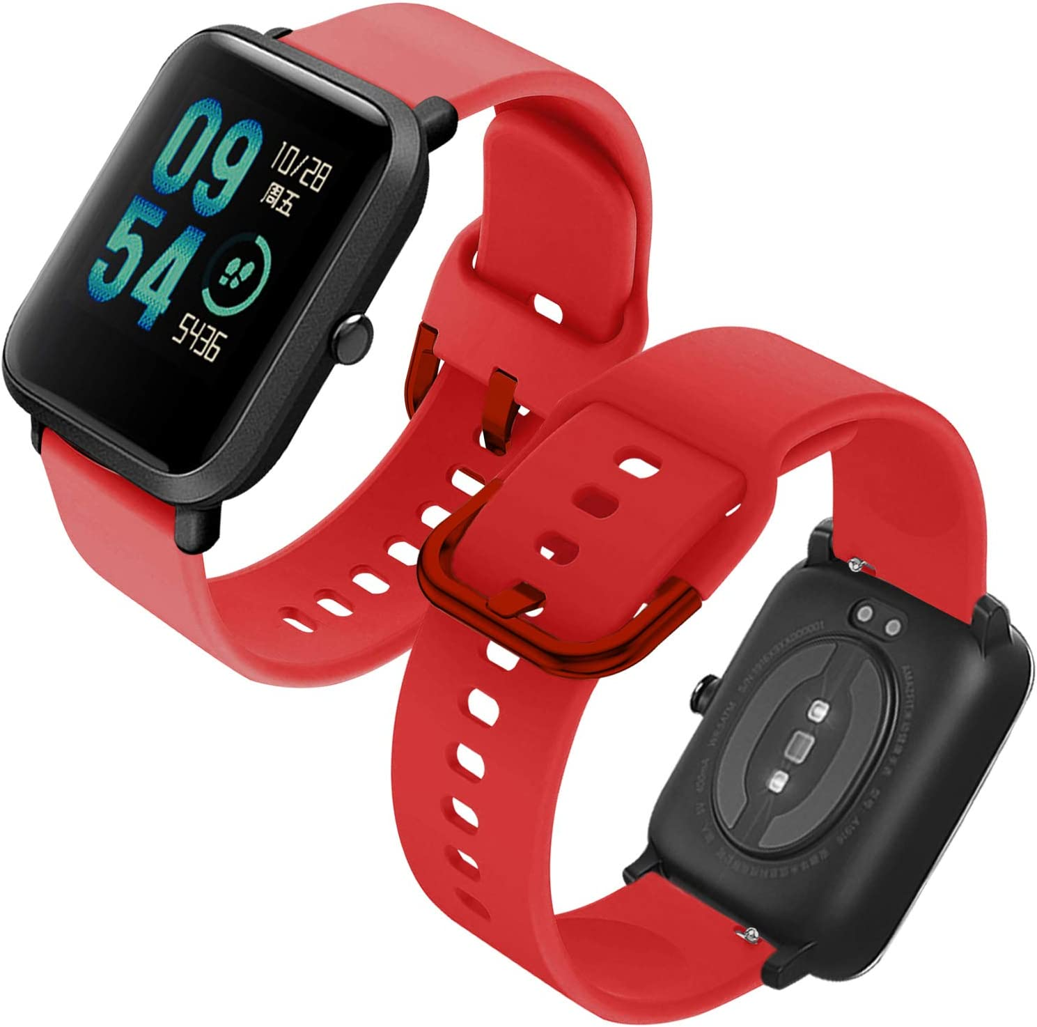 Th-some Correa para Amazfit GTS Impermeable Universal - Reemplazo de Pulsera Ajustable para Xiaomi Huami Amazfit Bip/Amazfit Bip bit Lite Youth/Amazfit GTR 42mm Watch, Sin Tracker (Rojo)
