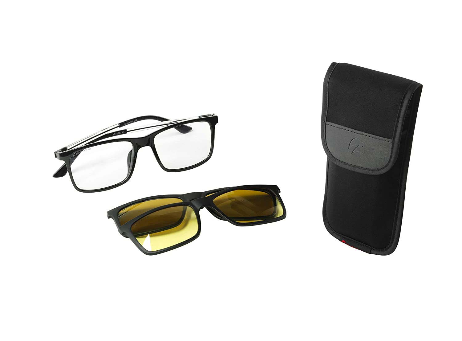 c7d9f4099b Eagle Eyes 3in1 SuperSight System - Magnetic Clip-on Glasses - Computer  Lens Based Frame   Polarized Sunglass Clip-on   Night Driving Clip-on   Amazon.ca  ...