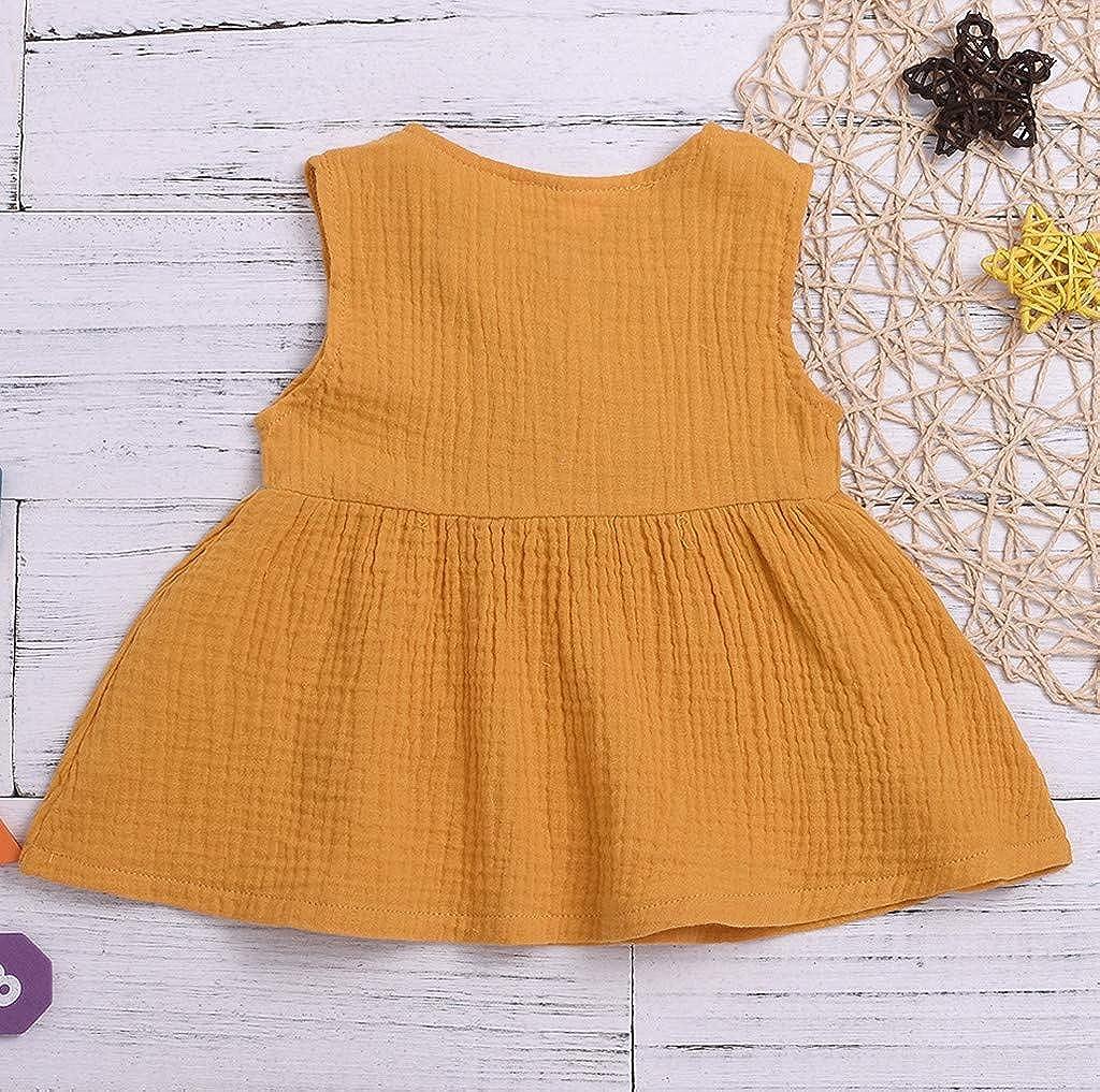 Waymine Toddler Kids Girls Sleeveless Solid Tank Dress Sundress Princess Skirt