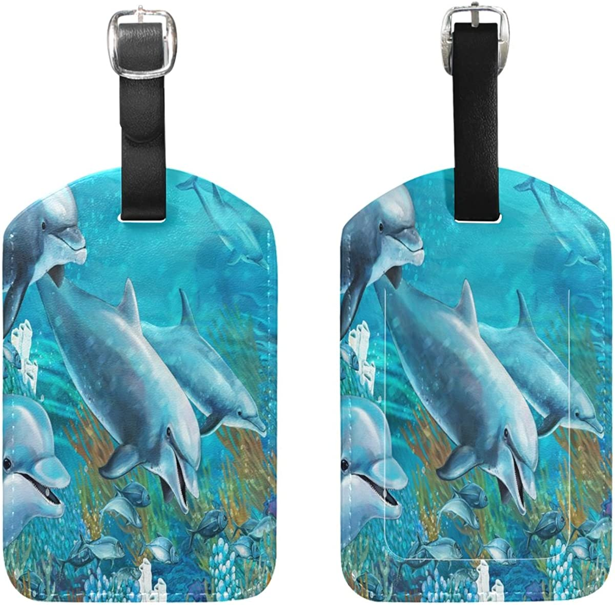 2 Pack Luggage Tags Dolphins Ocean Baggage Tag For Travel Bag Suitcase Accessories
