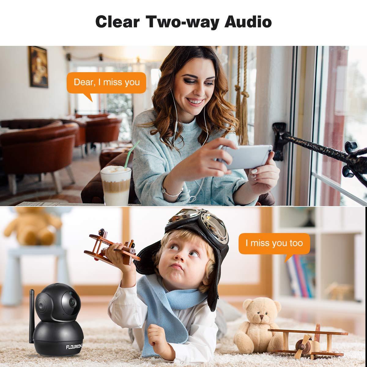 IP C/ámara de Seguridad para el hogar Inal/ámbrica Detecci/ón de Movimiento Humano FLOUREON HD 1080P C/ámara WiFi Pan//Tilt Vigilancia CCTV Audio Bidireccional Visi/ón Nocturna-Blanco