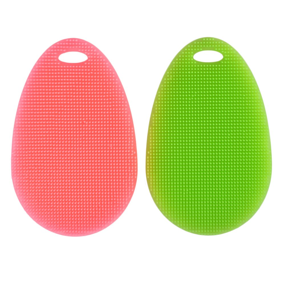 SHiZAK Multipurpose Silicone Dish Scrubber Sponge Brush for Dish Washing Multi-functional Cleaning Fruit Washer / Vegetable Cleaner / Heat-resistant Mat / Gloves (Pack of 2, Green&Pink)