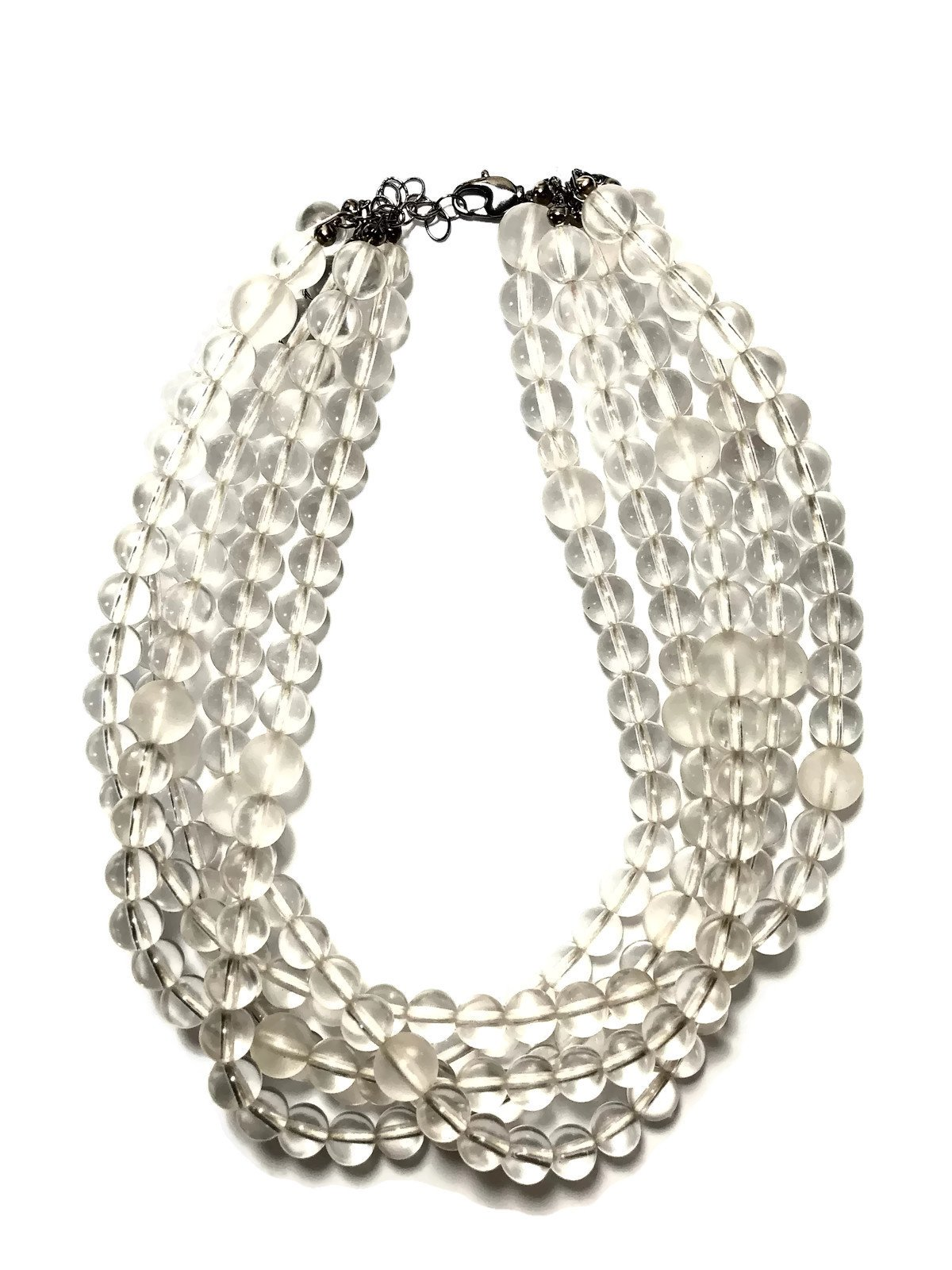 Leetie Lovendale Clear Beaded Lucite Multi-Strand Statement Sylvie Necklace