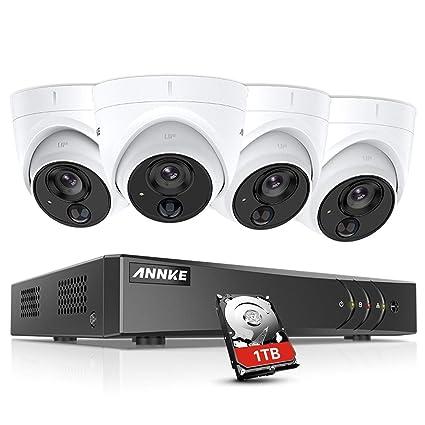 ANNKE Kit de 4 Cámaras de vigilancia 1080P PIR Detección de Movimiento Alarma de luz Intermitente(H.265+ 8CH DVR 3MP 5-en-1 CCTV Cámara de Seguridad ...