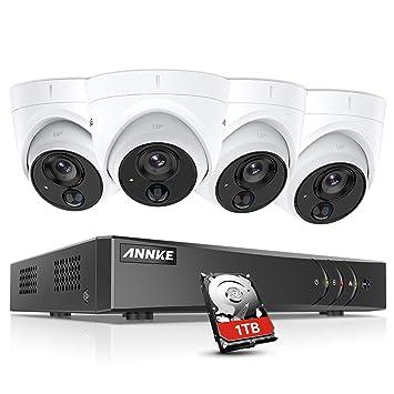 ANNKE Kit de 4 Cámaras de vigilancia 1080P PIR Detección de ...