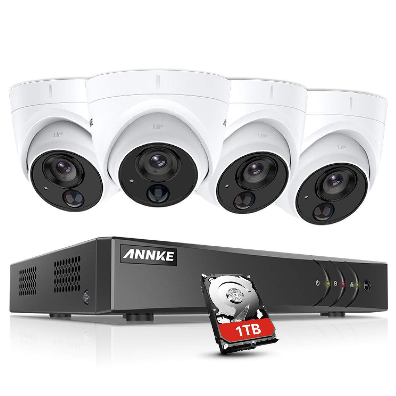 ANNKE Kit de 4 Cámaras de vigilancia 1080P PIR Detección de Movimiento Alarma de luz Intermitente(H.265+ 8CH DVR 3MP 5-en-1 CCTV Cámara de Seguridad IP67 Interior/Exterior)-1TB HDD product image