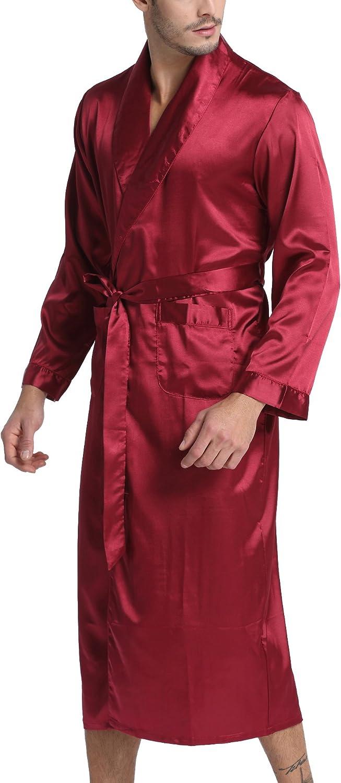 Sanraflic Mens Bathrobes Long Satin Robes Dressing Gowns Shawl Collar Nightwear Sleepwear