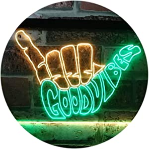 ADVPRO Good Vibes Only Hand Party Decoration Dual Color LED Neon Sign Green & Yellow 12
