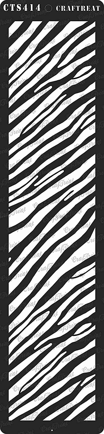 Tile Crafting Floor Wall DIY Albums Fabric Notebook Wood 3x12 Reusable Painting Template for Journal Home Decor CrafTreat Stencil Scrapbook and Printing on Paper Zebra Skin 3x12