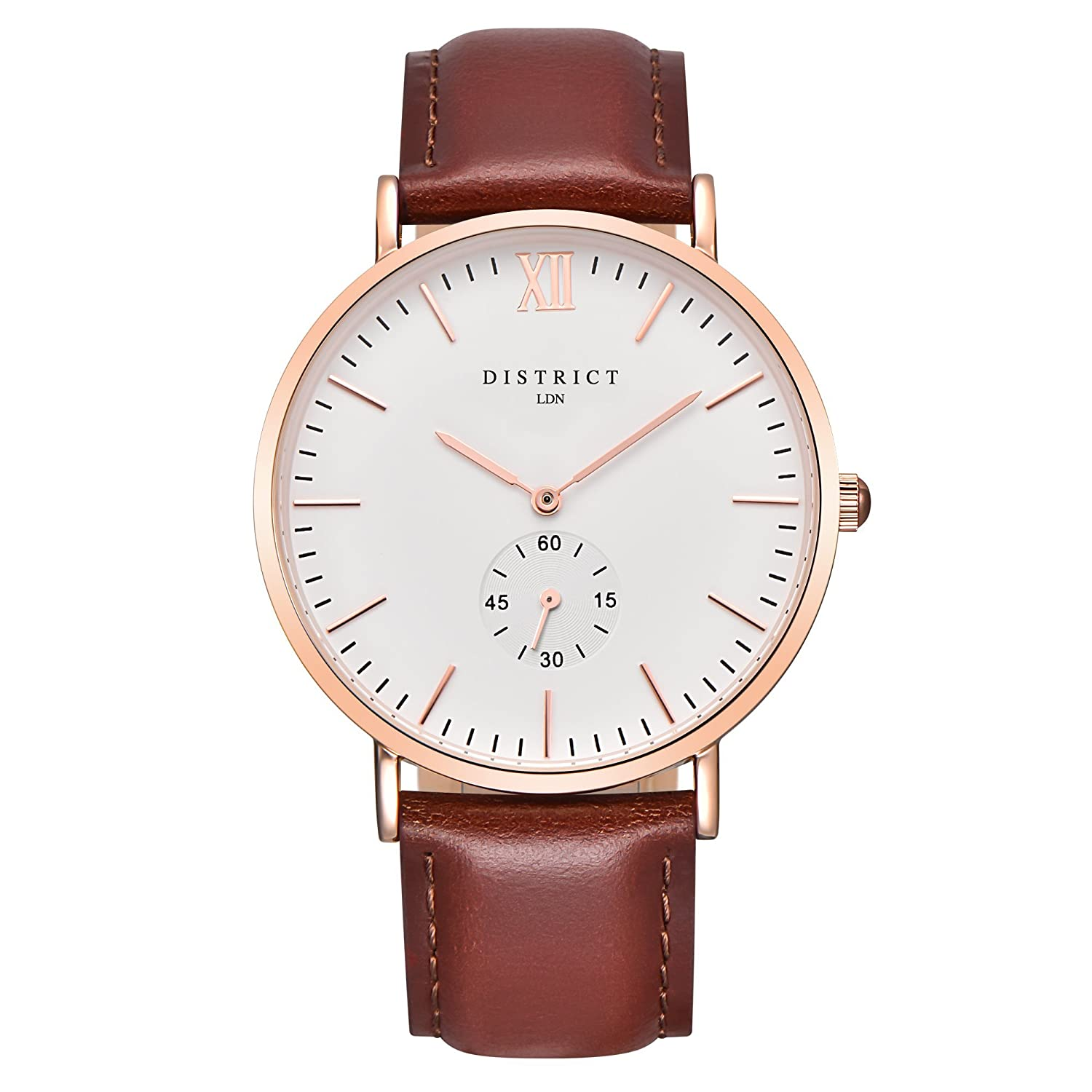 84c0dfe5c46 District London Oxford Edition Mens Watch - Slim Light Brown Leather Band  Quartz Rose Gold Wrist Watch Luxury Classic Simple Casual Design White Dial  Watch ...