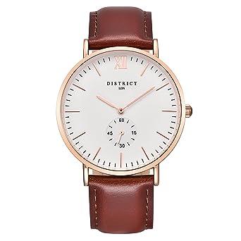754377c2b05 District London Oxford Edition Mens Watch - Slim Light Brown Leather Band  Quartz Rose Gold Wrist