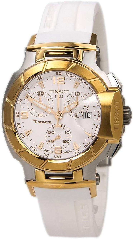 Tissot T-Race - Reloj (Reloj de Pulsera, Masculino, Acero Inoxidable, Oro, Acero Inoxidable, Silicona, Blanco)