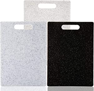 Cutting Board Set for Kitchen, 3 Piece, Dishwasher Safe, Food Safe Plastic Material, Marble Appearance, BPA Free, Non-Porous, Easy Grip Handle (Set of Three, 13.8 x 9.9)
