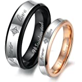 "His or Hers (Priced Separate)""Forever Love"" Black & Rose Gold Plated Stainless Steel Titanium Wedding Band Couple Rings(Available Sizes 5 to 12)"